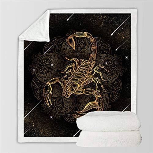 Manta de escorpión Dorado Boho Meteor Scorpio Ropa de Cama sofá Vintage Manta de Terciopelo constelación Doble Manta Gruesa 150 * 200Cm