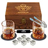 Whiskey Glasses Set - Whisky Chilling Stainless Steel Ice Cubes Set - Scotch Glasses Gift in Wooden Box - 6 Wisky Metal Ice Cubes - Bourbon Set Gift Box - Whiskey Gift Set for Men Dad for Birthday
