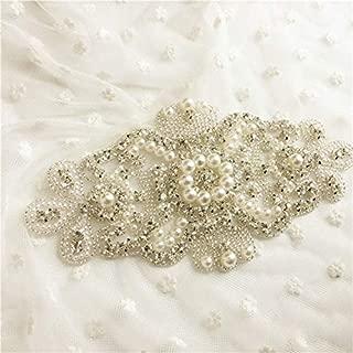 Fabrichouse Silver Sewing Bridal Wedding Dress Belt Crystal Rhinestone Applique Trim Handmade Decor Hotfix Clothing Accessories (Big)
