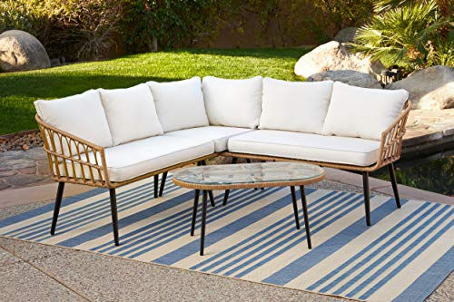 Quality Outdoor Living 29-YZ0SHM Hermosa Sectional Sofa + Coffee Table, Natural