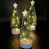 Mini árbol de Navidad Artificial 3 Piezas de árbol de Navidad de Mesa con Luces Decoración de Fiesta de Navidad Adornos de Mesa en Miniatura Oficina en Casa Decoración Mini Escritorio de Navidad