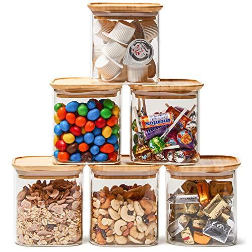 EZOWare Klare Stapelbare Glas Vorratsdosen, Vorratsgläser aus Borosilikatglas, Küche Lebensmittel Lagerung Behälter mit Bambus Deckel - 6er Set, 700ml