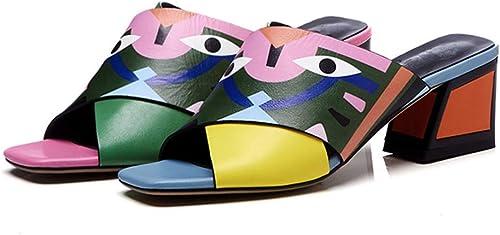 XHHXPY Nouvelles Chaussures pour Femmes Croix Monstre Sable Glisser Couleur en Cuir Au Milieu Sandales Femmes Bouche de Poisson Un Mot d'épaisseur,Orange,36