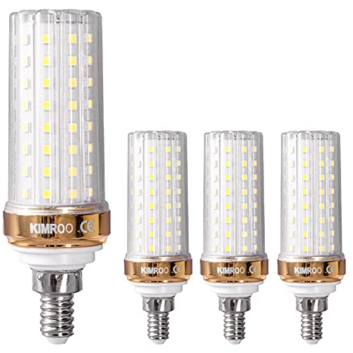 KIMROO E12 LED Bulbs 20W Candelabra LED Bulbs(4-Pack)-88 LEDs 2835 SMD 180W Equivalent,6000K Daylight White 1800lm Decorative Candle E12 Corn Chandelier Bulbs,Non-Dimmable(White)