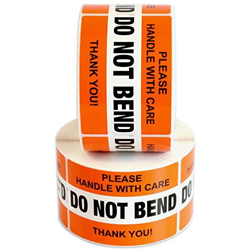 """DO NOT Bend Please Handle with Care Label Stickers 2"""" x 3"""" 1000 Labels [2 Rolls x 500] Waterproof, Orange by Milcoast"""