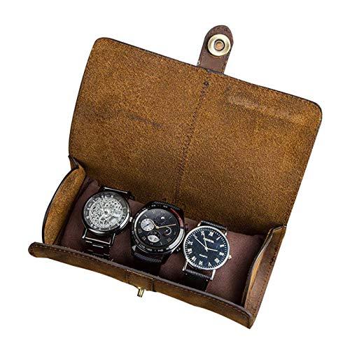 Caja de reloj para hombre, caja de almacenamiento, cuero artificial, estuche de viaje, adecuado para 3 relojes de fibra de carbono