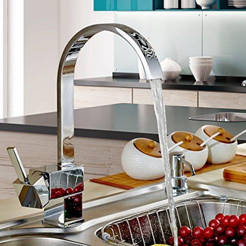 Auralum® Design Wasserhahn Hoher C-Auslauf Spültischarmatur Einhandmischer Küche Spüle - 2