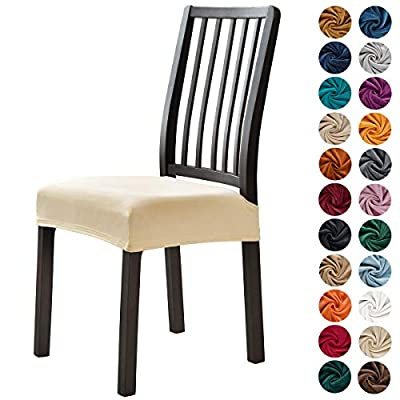 MILARAN Velvet Dining Chair Seat Slipcover, Soft Stretch Chair Cushion Cover for Dining Room, Kitchen, Washable Removable Chair Seat Protector for Home Décor, Banquet, Ceremony, 6 Pcs,Cream
