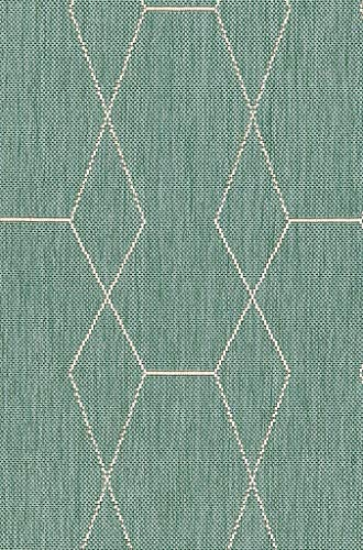 De'Carpet Alfombra Interior&Exterior Polipropileno Estilo Nórdico Escandinava Geométrico Verde Mint (60x110cm)