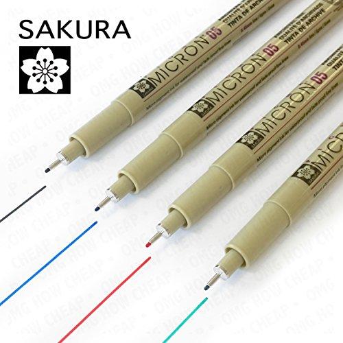 Sakura Pigma Micron - Pigmento Portamina - Pack de 4 - 0.5mm - Negro, Azul, Rojo, y Verde