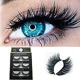 3D False Eyelashes,BYIA Creative Design Luxury High Class New Eyelashes For Party Daily Makeup Fluffy Strip Eyelashes Long Natural 3Pair