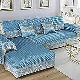 YUTJK Chaiselongue-Sofa Bezug,Geprägte Seidensatin-Sofabezug mit Spitzenrock,rutschfestem High-End-Sofakissen auf der Rückseite,Sofarückenlehne Mat-Blue_88x120cm+15cm