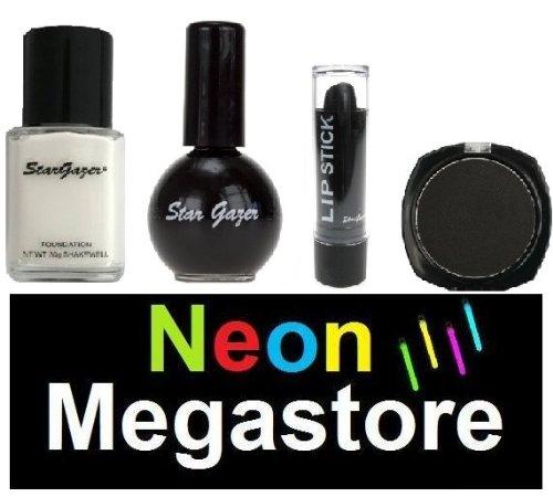 Stargazer Halloween-Make-up-Set, schwarz, Gothic-Set, mit weißerFlüssig-Foundation/schwarzem...