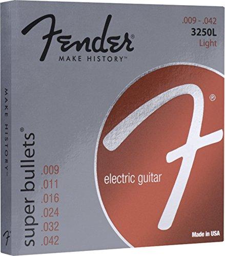 Fender 073-3250-403 Cuerdas Super Bullet, acero niquelado, extremo de bala, calibres 3250L .009-.042, (6)
