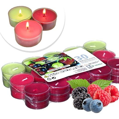 candele profumate 30 pezzi Smart Planet® Candele Ambiente – 30 pezzi candele profumate – Set di candele profumate fruttate – custodia trasparente – 4 ore di durata