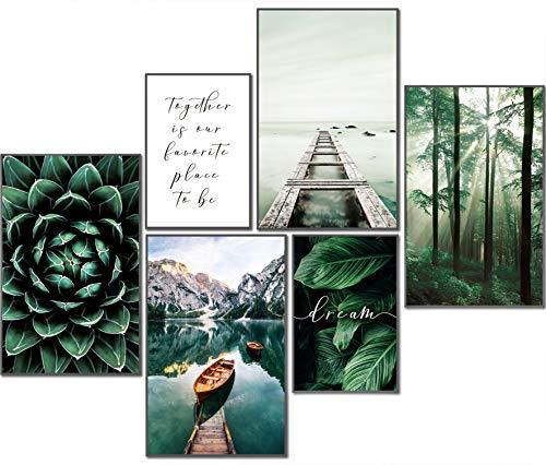 artpin® Moderne Poster Set Natur- Bilder Wohnzimmer Deko Schlafzimmer - Wanddeko Ohne Bilderrahmen Collagen - Wald Holz Grün 4x A4 | 2x A5 W8