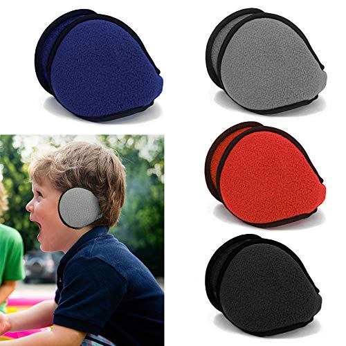 Generic Kids Ear Muff Earmuffs Boy Girl Warmers Winter Basic Polar Fleece Grip Wrap Soft,Black