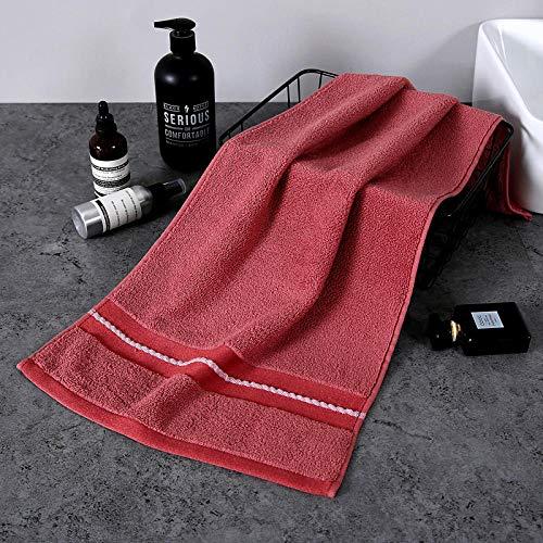 XINDUO Toallas Juego de toallitas Premium,Toalla de algodón de Fibra Larga Simple de Color Puro 2 Piezas-Vino Rojo_34 * 74,Toallas Muy absorbentes y Suaves