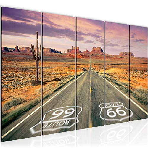 Runa Art Peinture XXL Route 66 Grand Canyon 200 x 80 cm Beige Orange 5 Parties - Made in Germany - 611355a