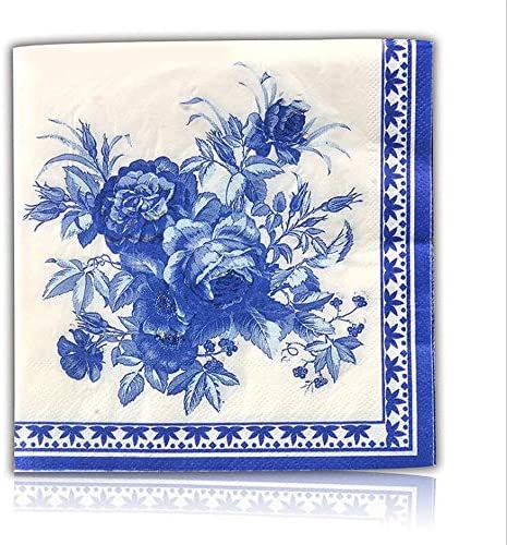 Blue Floral Decorative Paper Napkins 2 Ply Cocktail Beverage Napkins For Wedding Birthday Dinner product image