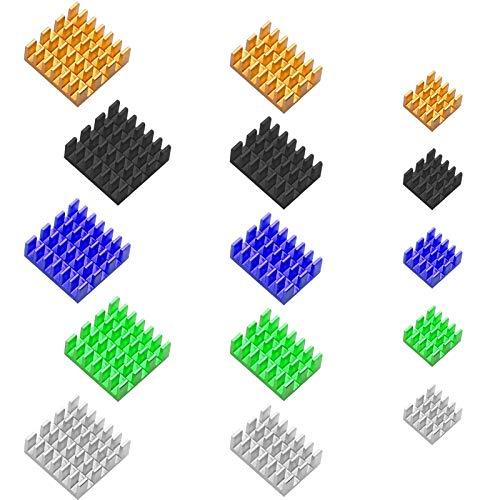 Kühlkörper Set für Raspberry Pi Aluminium Heatsink Kühlsatz Kühler-Kühlkörper in 3 Größ, 15 Teiliges