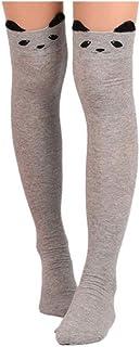 DOGZI Calcetines, largos mujer Gato de dibujos animados Calcetines largos Sobre la rodilla High Sock medias negras deporte calcetín antideslizante