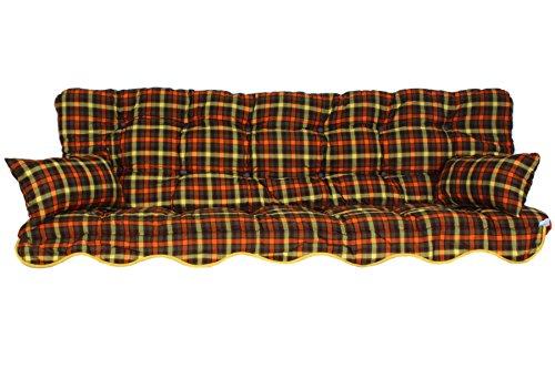 Adlatus-Kühnemuth Polsterauflage Hollywoodschaukel 180x50 Modell 148 braun/orange/grün