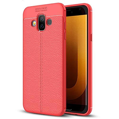 YANTAIAN Estuche de TPU de Textura de Litchi para Galaxy J7 Duo (Color : Red)