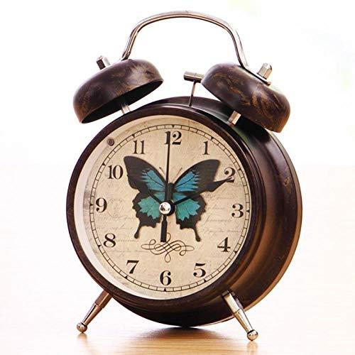FPRW Retro wekker, ouderwetse mechanische nostalgische klok, creatieve persoonlijkheid grote ringtone luie nachtkastje, voor diepe slaper, blauwe vlinder