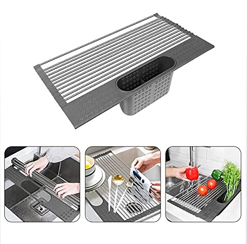 20' Over The Sink Dish Drying Rack Stainless Steel Kitchen Roll Up Dish Drying Rack with Utensil Holder for Dish Cup Plate