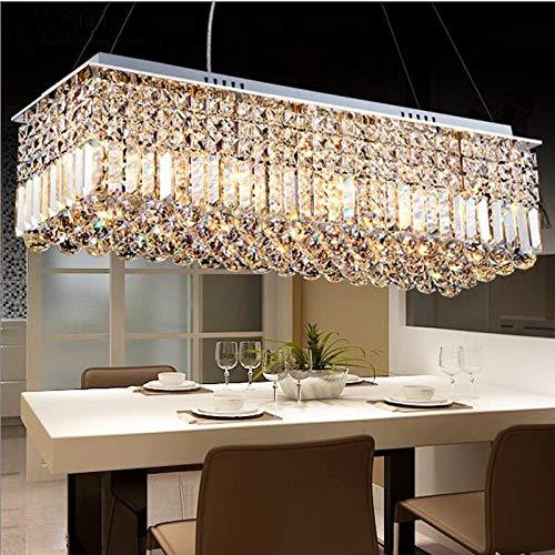 KAIBINY YY LED Moderno Rectangular Cristal lámpara lámpara lámpara lámpara Colgante for Sala de Estar Comedor Restaurante decoración (Color : L120xW20xH25cm, Emitting Color : Cold White)