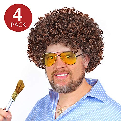 Bob Ross Wigs (Set of 4) - Brown Afro Wigs for Men, Women, and Kids Costume, Party, & Play - by Prime Party