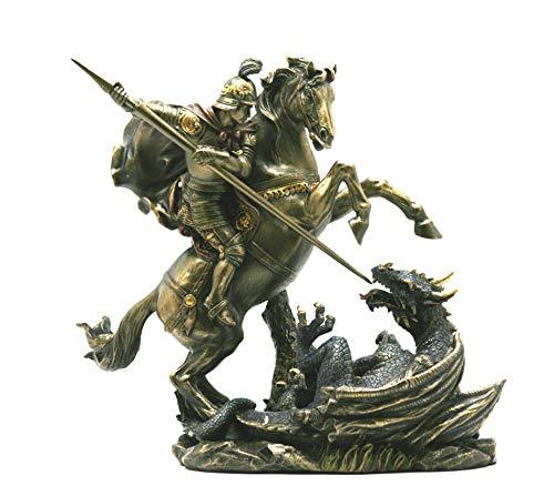 Unbekannt St. George Killing The Dragon Römischer Soldat Statue Figur Bronze Finish