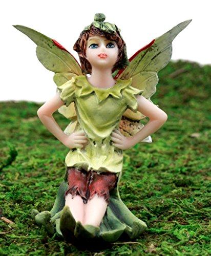 Ebros Gift Enchanted Fairy Garden Tinkerbell Green Elf Wishing Fairy Figurine 3.5' H Miniature Do It Yourself Ideas for Your Home Collectible Fairy Garden Decor
