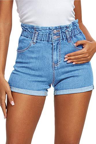 HOCAIES Women's High Waisted Rolled Denim Shorts Paper Bag Casual Mom Jean Short Pants (US - 4, Light Blue)