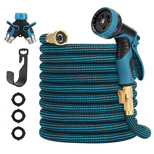 Garden Hose 50ft Expandable Water Hose with 9 Function Nozzle Durable Leakproof Flexible Hose with Solid Brass Fittings for Gardening (Splitter Included)