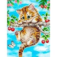 5DDIYダイヤモンド絵画猫クロスステッチダイヤモンド刺繡動物ラインストーン画像家の装飾ギフト40x50cm
