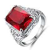Xunuo Thai Silver Red Simulation Vintage Ruby Engagement Ring Big Carat Simple Flower Pattern Square Engagement Female Ring Size 6-10 (6)