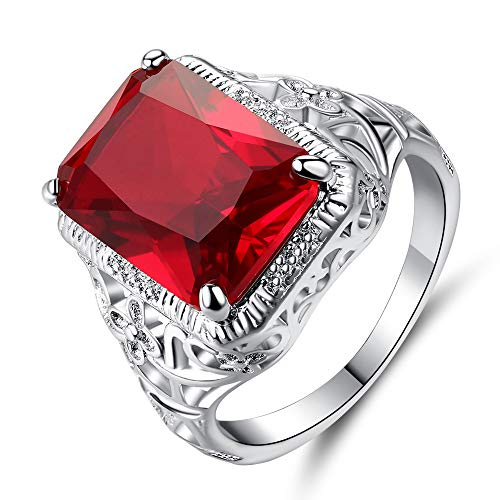 Xunuo Thai Silver Red Simulation Vintage Ruby Engagement Ring Big Carat Simple Flower Pattern Square Engagement Female Ring Size 6-10 (7)