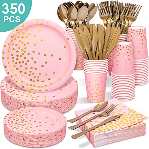Pink & Gold Party Supplies - 350 PCS Disposable Dinnerware Set - Pink Paper Plates Napkins Cups, Gold Plastic Forks Knives Spoon for Birthday Thanksgiving Halloween Christmas Baby Shower Wedding Party