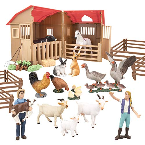 TOYMANY 40PCS Farm Animals Figures Playset with Barn House Fence  Learning Toy Farm Figurines Set with Farmers Horse Cow Hen & Fodders  Educational Toys Christmas Birthday Gift or Kids Toddlers