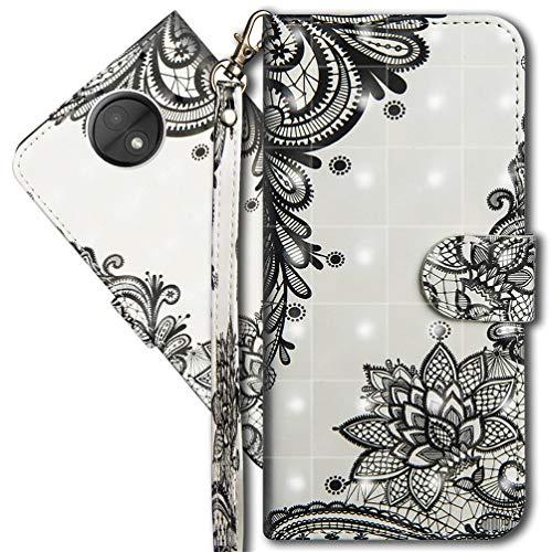 MRSTER Moto C Plus Handytasche, Leder Schutzhülle Brieftasche Hülle Flip Hülle 3D Muster Cover mit Kartenfach Magnet Tasche Handyhüllen für Motorola Moto C Plus. YX 3D - Lace Flower
