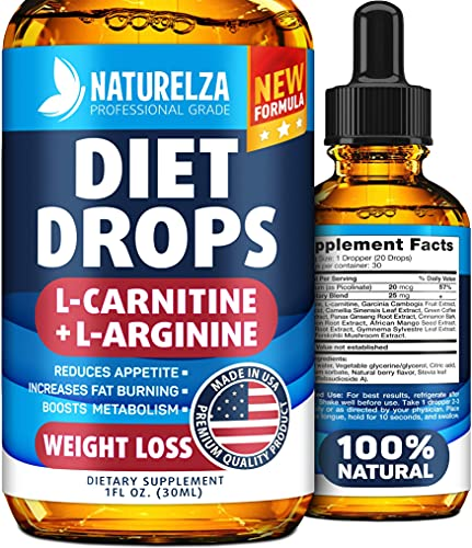 Weight Loss Drops - Made in USA - Best Diet Drops for Fat Loss - Effective Appetite Suppressant & Metabolism Booster - 100% Natural, Safe & Proven Ingredients - Non GMO Fat Burner
