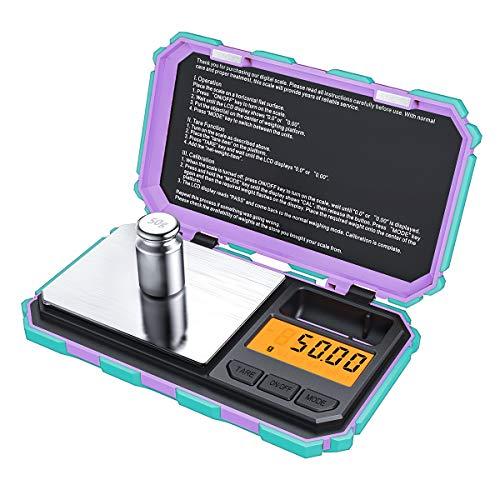 Criacr Báscula Digitales de Precisión, 200 x 0.01g Balanzas de Portátiles con 50g de Peso de Calibración, Báscula Inteligente con Retroiluminación LCD, 6 Unidades, Función de Tara (Menta Verde