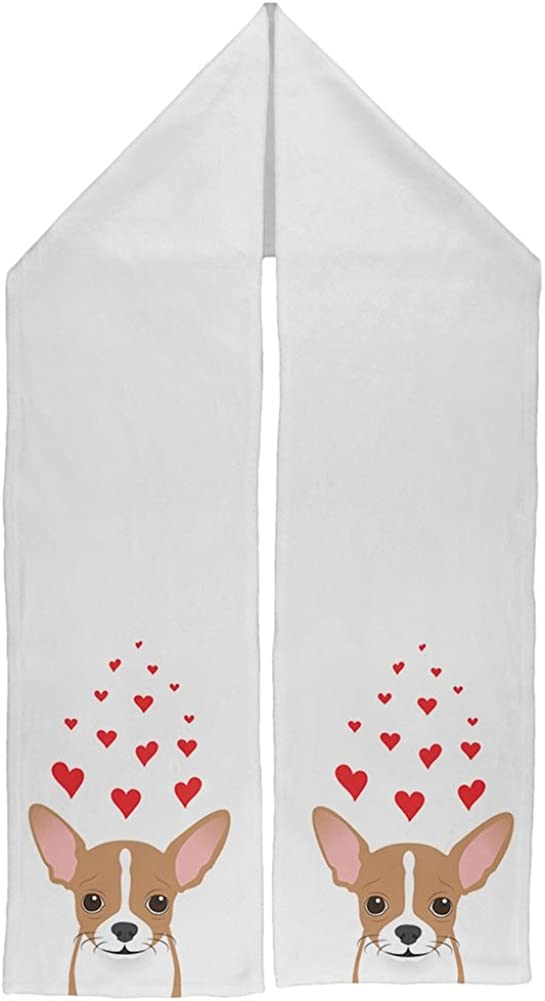 Valentine's Day Chihuahua Love Hearts UP Warm Fleece Scarf