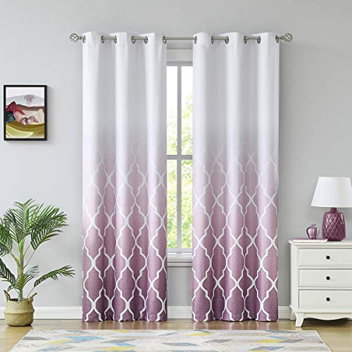 """Metro Parlor Geo 100% Blackout Window Curtains Gradient Print Drapes for Bedroom 95 Inches Long, Room Darkening Grommets Top Window Treatment Sets for Living Room, Purple/Off White 42"""" W 2 Panels"""