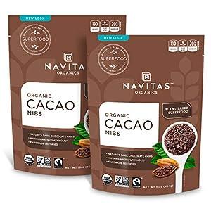 Navitas Organics Raw Cacao Nibs 16oz. bag, 15 servings — Organic, Non-GMO, Fair Trade, Gluten-Free (Pack of 2)