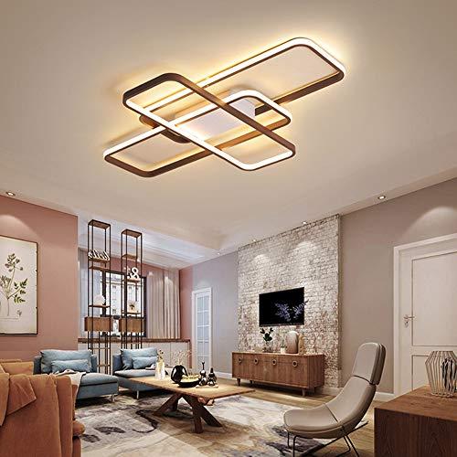 LED Wohnzimmerlampe Deckenleuchte Dimmbar 3000K-6500K Acryl-Schirm Fernbedienung Lichtfarbe/Helligkeit Einstellbar Deckenlampe Moderne Chic Designer-Lampe für Esszimmer Schlafzimmer Küche (Schwarz-1)