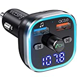VicTsing BH378 FM Transmitter, Bluetooth 5.0 Car Radio Audio Adapter & 6 RGB Colorful Light, MP3 Player Support Hands-Free Calling, USB Drive, TF Card, S