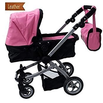 Mommy & Me Babyboo Luxury Leather Look Doll Pram with Swiveling Wheels & Adjustable Handle and Free Carriage Bag - 9651B Pink